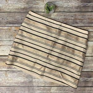 J Crew Gold Metallic Shiny Striped Mini Skirt